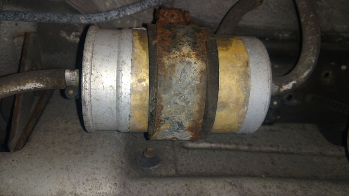 This fuel filter is probably close to original on this low mileage 25 year old E34 525i.